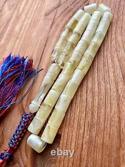 White Natural Baltic Amber Islamic Prayer Rosary 27g. 33 Beads Misbaha Tesbih